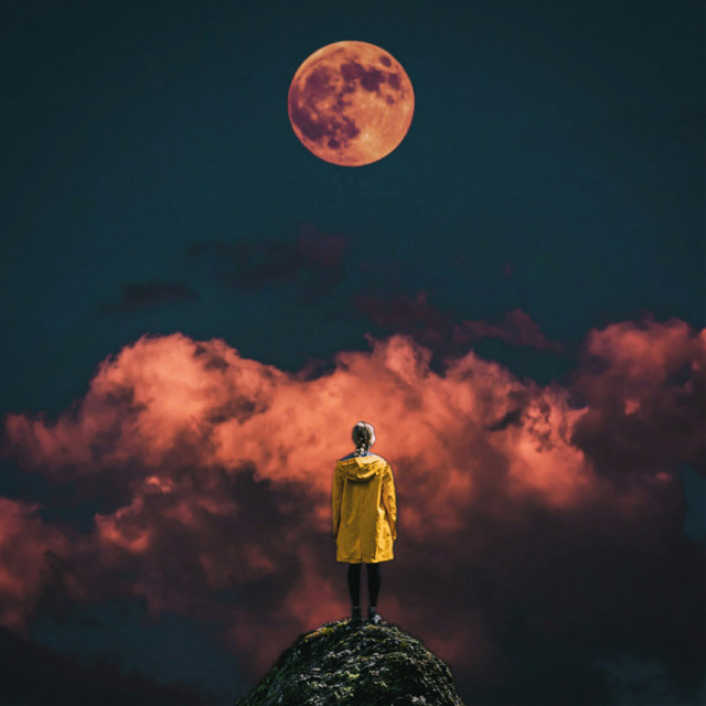 #freetoedit @picsart @freetoedit #clouds #red #yellow #girl #surreal #moon #eclipse #fantasy #inspiration