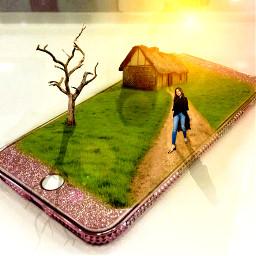 freetoedit background girl house tree
