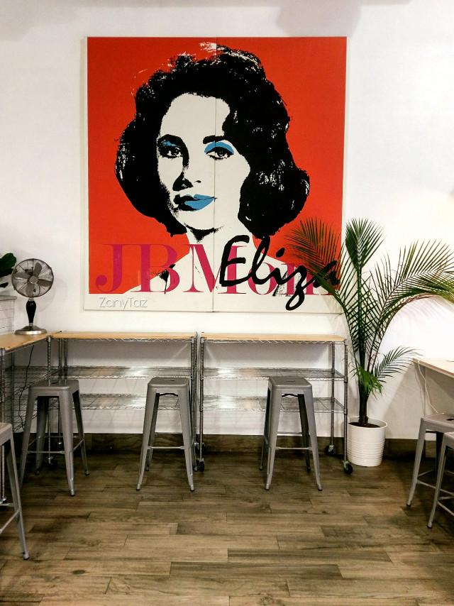 #elizabethtaylor #poster at an #icecreamshop #celebrity #popart #seating #myphoto #photography ❤ #freetoedit