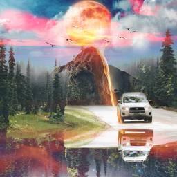 freetoedit moonday sunset reflection car
