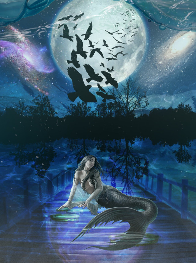 #freetoedit #underwater #mermaid #moon #galexy #night #picsartlife