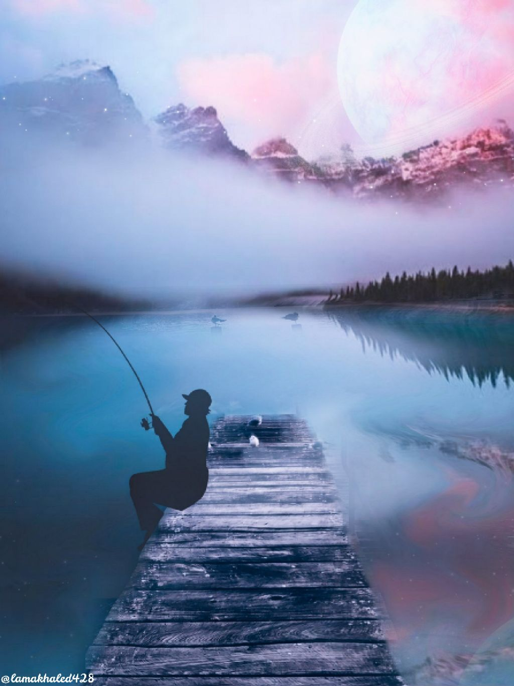 #freetoedit #fishingman #mountain #Lake #clouds #bridge #saturn #planet #trees #reflection #setdown #bird #sky #blue #pink #edit #myedit #remixit #remix #hopeyoulikeit 💙💜☺️