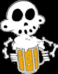 skeleton beer skull freetoedit