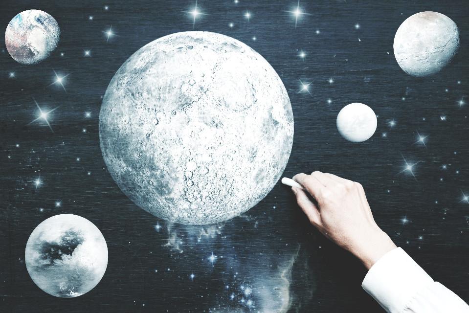 Vote 🌑  #freetoedit  #ircblackboard #blackboard #art #planets #planet #moon #earth #black #white #edit