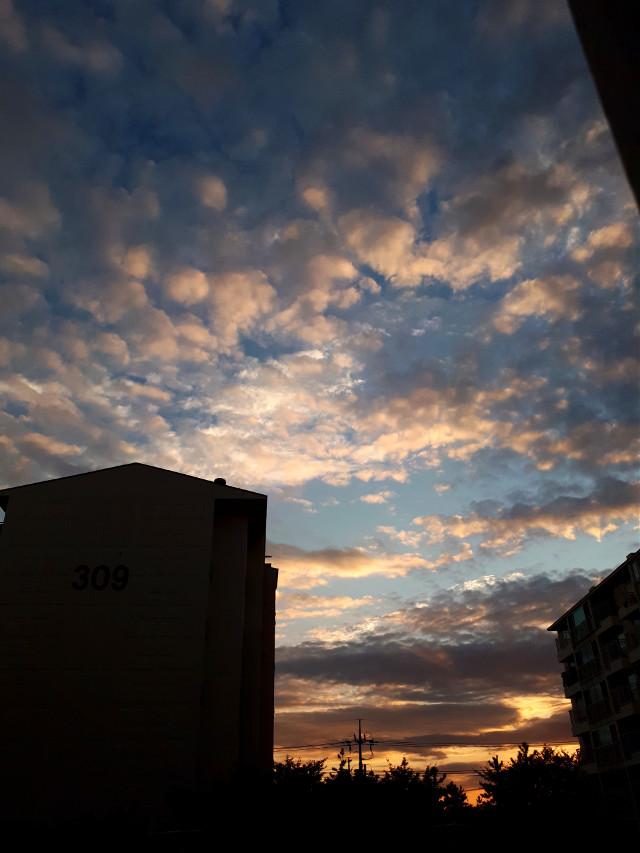 붉은 노을 푸른 하늘 뭉게 구름  #sunset #red #blue #cloud #sky #apartment