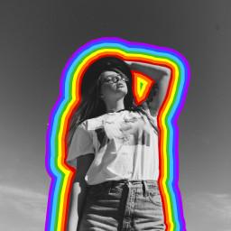freetoedit rainbow blackandwhite