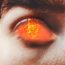 freetoedit eye red fire flames hand doubleexposure surreal smoke picsart