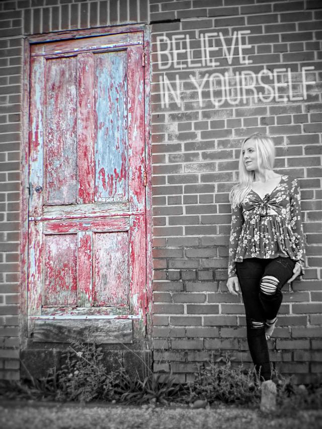 #colorsplash #sticker #quotes #blackandwhite #beautiful #photography #photoshoot #model #blonde #wife #abondonedplaces #door