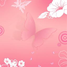 background wallpaper floralpattern butterflies pink freetoedit
