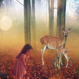 freetoedit kids deers wood neoneffect