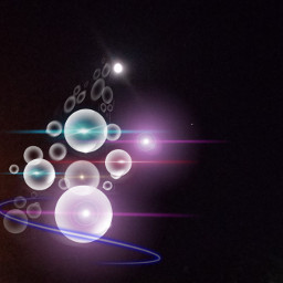 freetoedit bubbles lightflare moon night_time