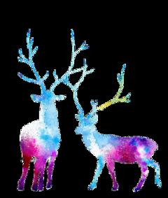 ftestickers watercolor deer moose colorful freetoedit
