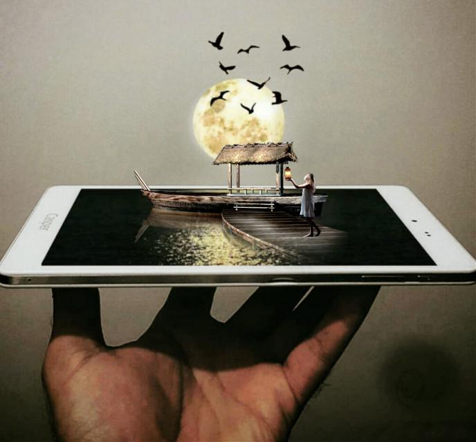 #phone#lantern#boat#birds#moon#girl