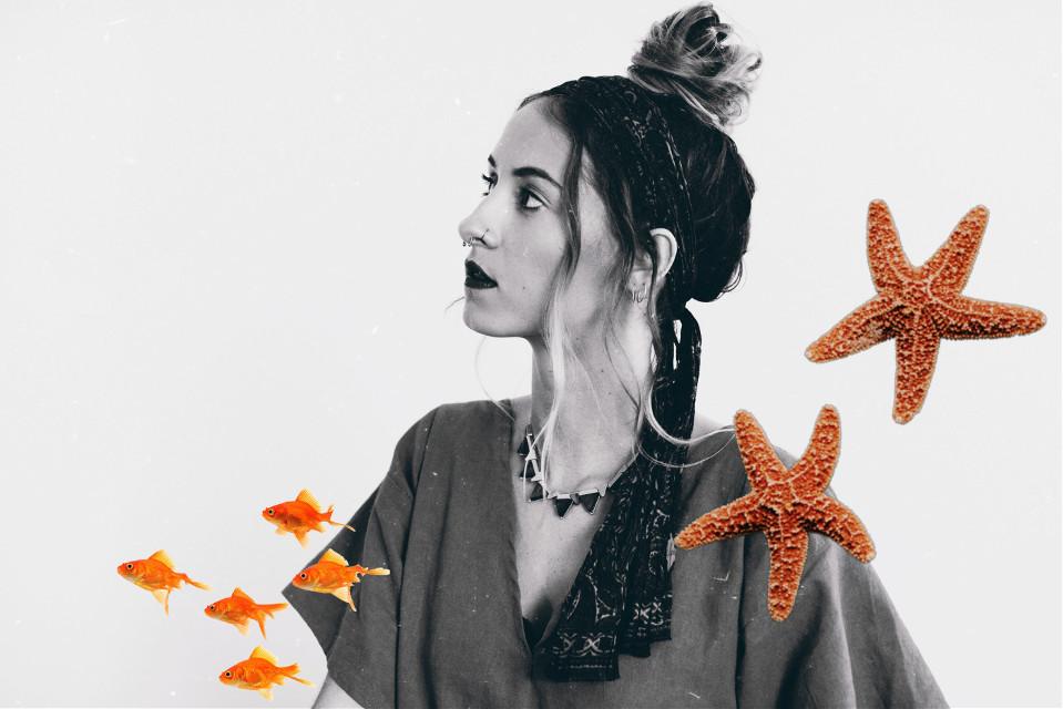 #freetoedit #remixit #girl #red #orange #orangeisthenewblack #fish #starfish #tumblr #blackandwhite #beautifuledit