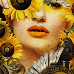 freetoedit steampunk sunflowers goldenrecord magicfx