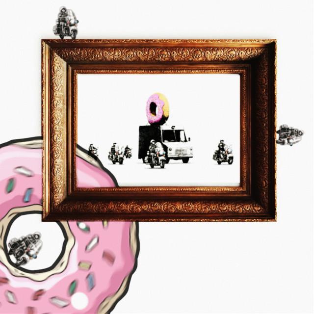 #freetoedit #challenge #banksy #truck #doughnut #pink #police #banksychallenge #black #white #yellow #art #graffiti #graffitiart #pinkdoughnut #icing #sprinkles