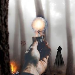 freetoedit lightbulb lightbulbremix orangelight forest scary