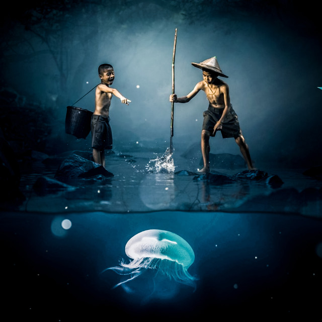 #freetoedit #underwater #kids #moody #jellyfish @picsart
