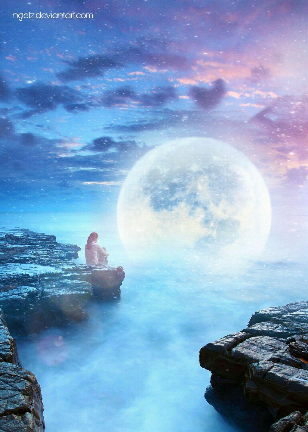 Talking to the moon #surreal #madewithpicsart #deviantart