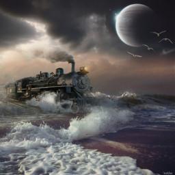 freetoedit surreal train sea millennialfltr