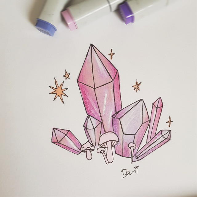 Day 16: #angualar  Need to catch up from slacking off yesterday 😴  #inktober #inktober2018 #drawing #art #tradionalart #pencildrawing #crystals #copicmarkers #prismacolorpencils   #freetoedit