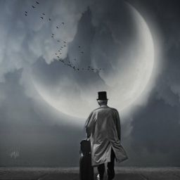 editbyme moon oldman clouds art