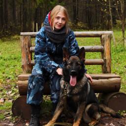 freetoedit dog girl cute forest