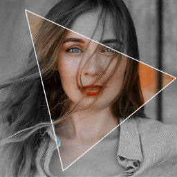 freetoedit girl triangle hipster bw