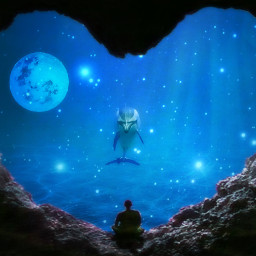 freetoedit dolphin magical cave moon