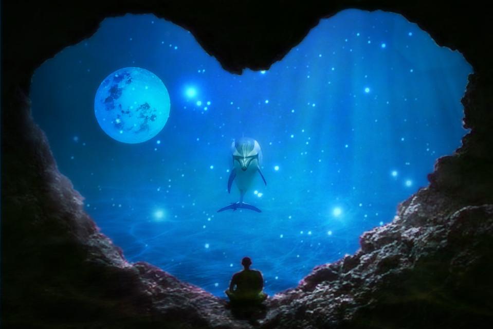 #freetoedit #dolphin #magical #cave #moon #silhouette #blue #blureffect #smartblur #myedit