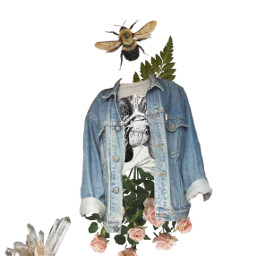 freetoedit jeanjacket saturday flowers