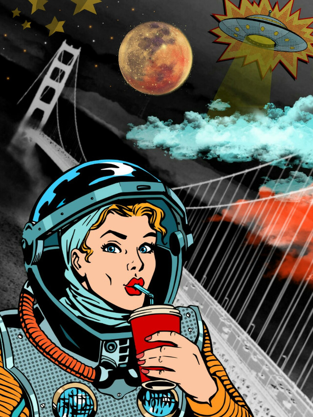 #freetoedit #astronaut #ufo #stars #moon #bridgetothesky #popart
