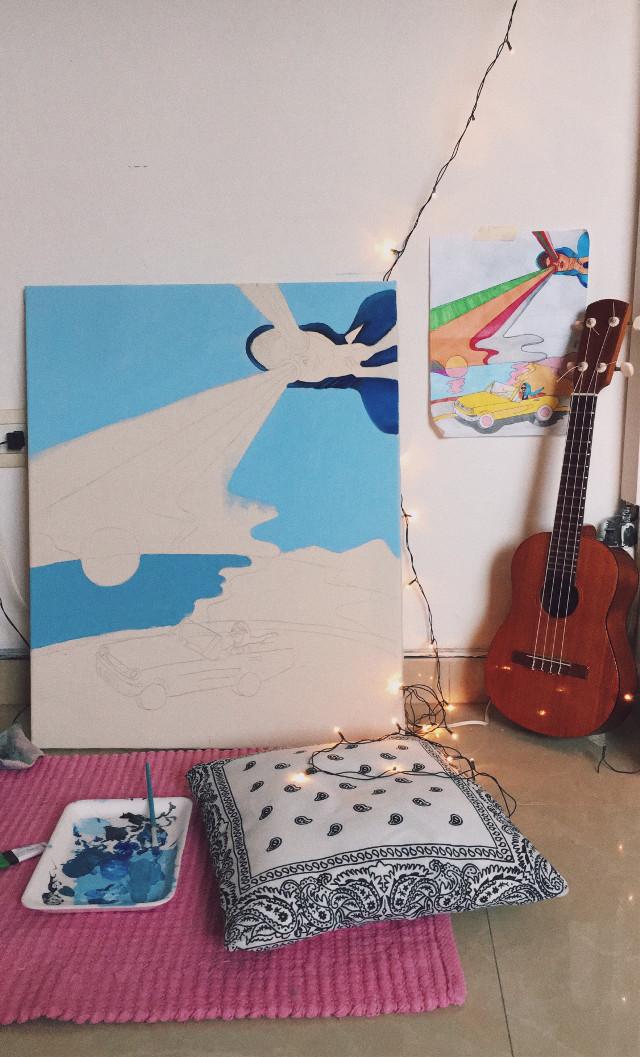 In process baby #freetoedit #blue #artwork #ukuele #lights #cozy