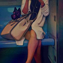 freetoedit girl commuting subway train