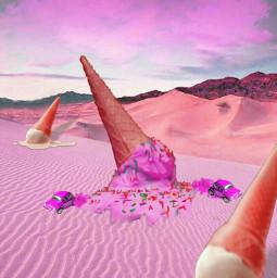 freetoedit icecreamcone pink desert