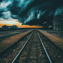 freetoedit storm city train sky