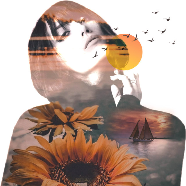 #freetoedit #woman #sunflower #stickers #doubleexposure #picsarttool