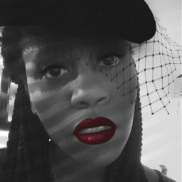 freetoedit red redlipstick blackandwhite selfie