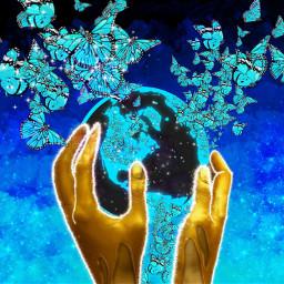 космос вмоихруках держу земля бабочки freetoedit ecinmyhands