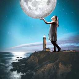 freetoedit moon girl surreal surrealism