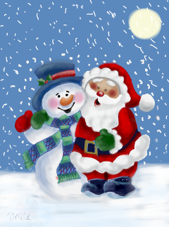 Christmas Background Picsart.Santa Claus Snowman Christmas Winter Snow Cute Drawing