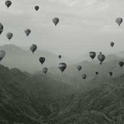 mountains parachutes blackandwhite nature freetoedit