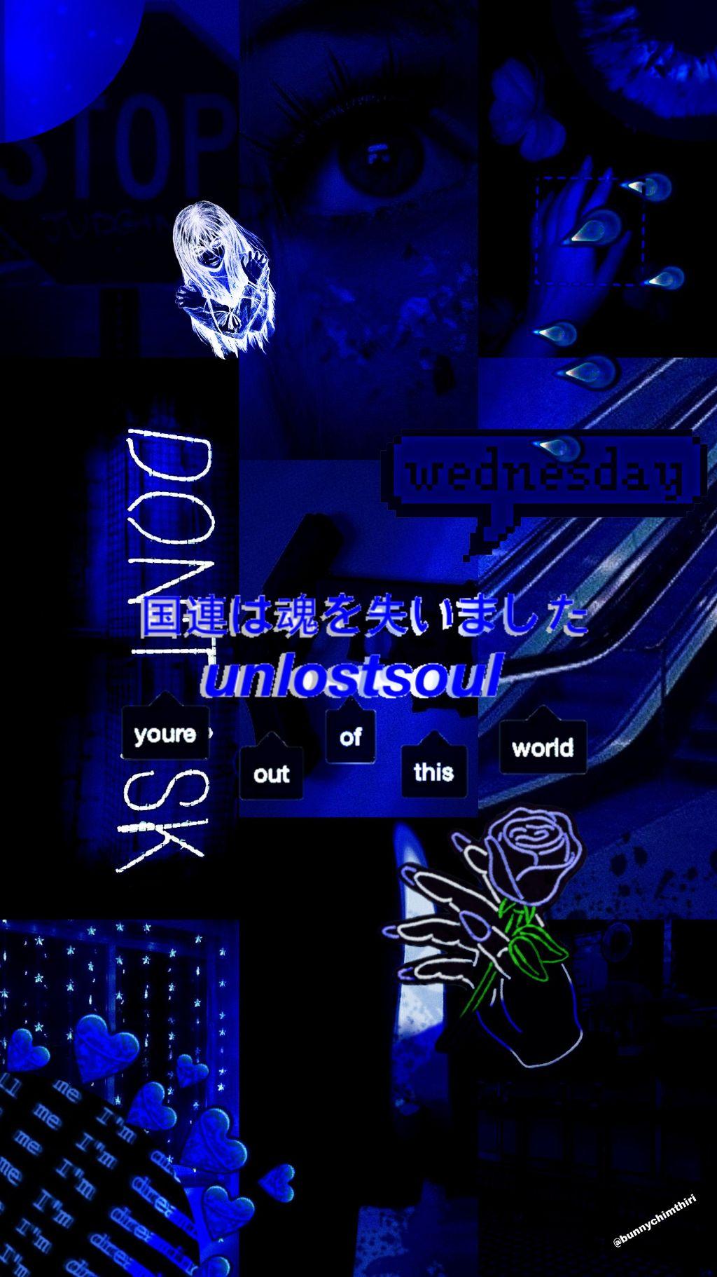 freetoedit blue aesthetic darkblue dark lockscreen wall...