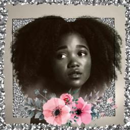 freetoedit glitter blackandwhite curlyhair shiny