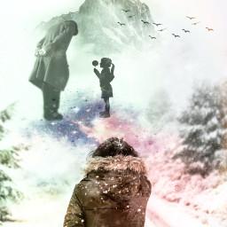 freetoedit oldman kid snow fantasy