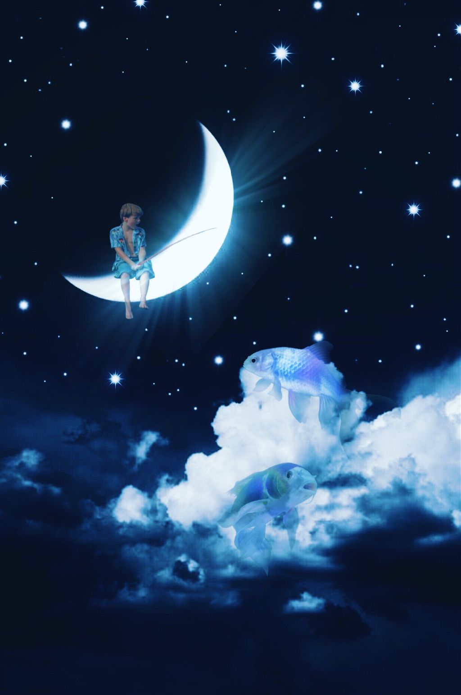 #freetoedit #moon #boy #fishing #surreal #surrealart  #magical #vin4