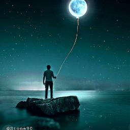 freetoedit picsart moon dark night sky galaxy