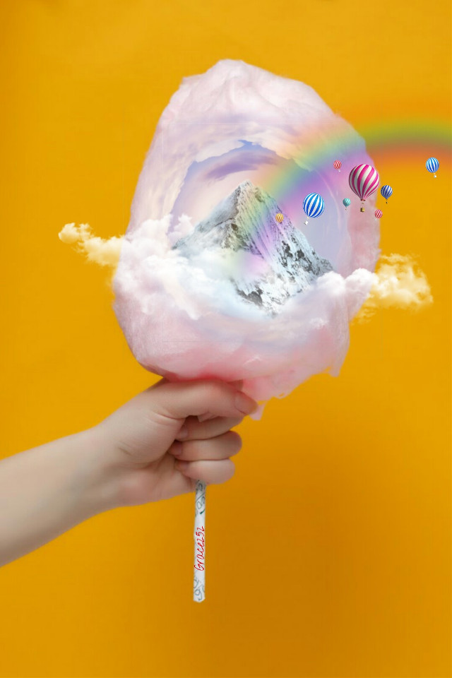 #freetoedit #cottoncandy #doubleexposure #tinyplanet #tinyplaneteffect #pink #clouds #mountain #hotairballoons #rainbow #hand Op @donnalafrance @sona75 @contraast @zzok