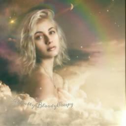 angel myedit myremix beautiful pretty gorgeous model rainbow girl woman photography portrait sky goddess light fantasy effects magic nature