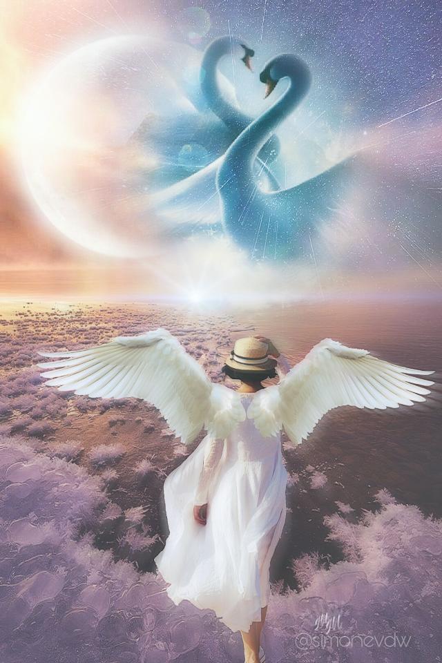 #editbyme #photomanipulation #imagination #doubleexposure #surreal #wings #swans #fantasyart #magical #moon #woman  #art #artwork